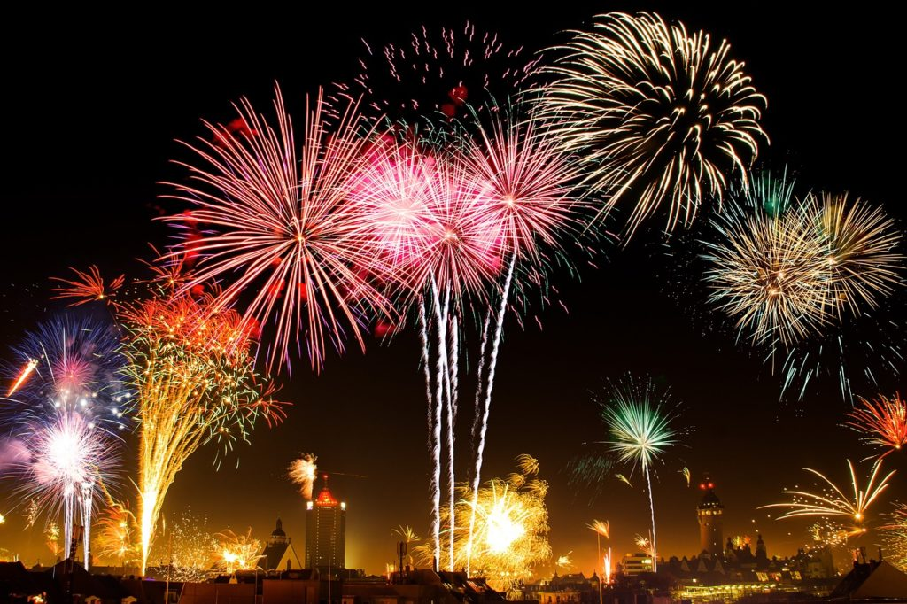 A skyline filled with brightly coloured fireworks